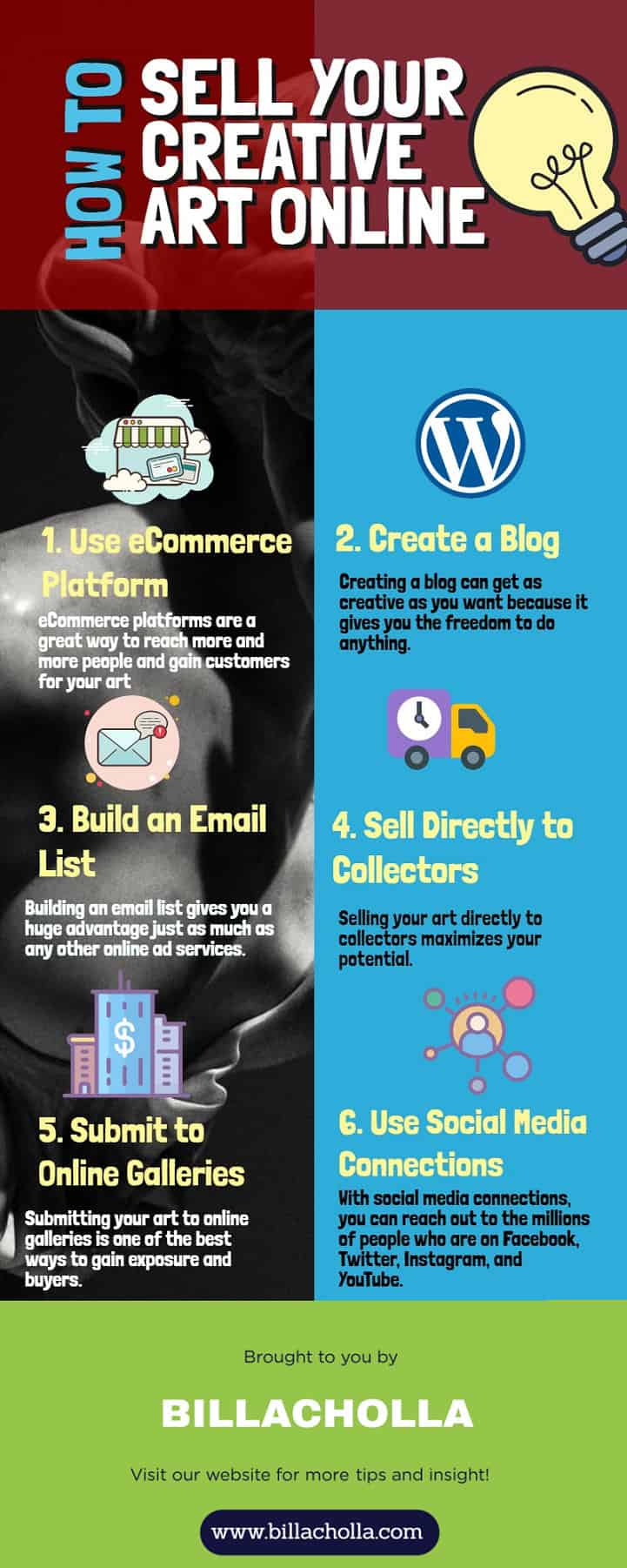 Infographic About Selling Creative Art Online and Make Money.